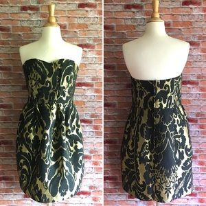 H&M black & gold strapless dress with pockets
